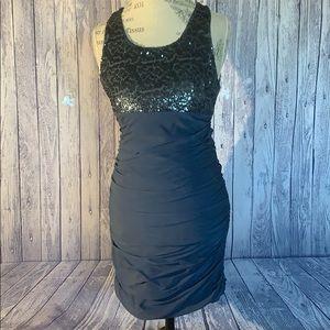 Alice+Olivia Dark Blue Silk Ruched Sequin Dress, 8